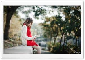 Girl Reading HD Wide Wallpaper for Widescreen