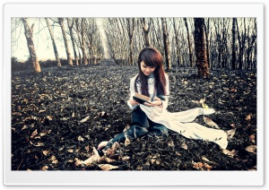 Girl Reading A Book HD Wide Wallpaper for Widescreen