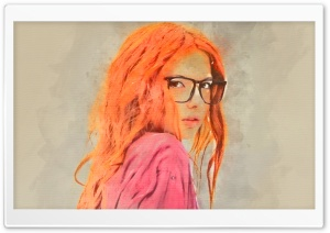 Girl Red Hair Watercolor HD Wide Wallpaper for Widescreen