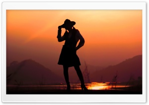 Girl Silhouette Sunset Photography HD Wide Wallpaper for 4K UHD Widescreen desktop & smartphone