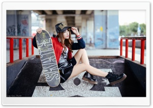 Girl Skateboarder Style HD Wide Wallpaper for 4K UHD Widescreen desktop & smartphone