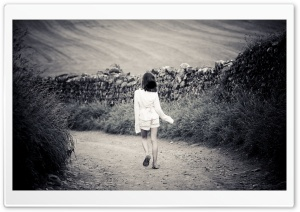 Girl Walking On Country Road HD Wide Wallpaper for Widescreen