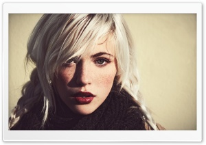 Girl White Hair and Dark Eyebrows HD Wide Wallpaper for Widescreen