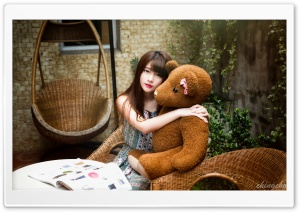 Girl with a Teddy Bear HD Wide Wallpaper for 4K UHD Widescreen desktop & smartphone