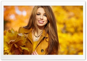 Girl With Autumn Leaves HD Wide Wallpaper for 4K UHD Widescreen desktop & smartphone