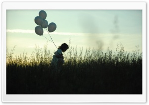 Girl With Balloons HD Wide Wallpaper for Widescreen