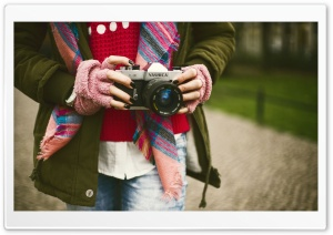 Girl with Camera HD Wide Wallpaper for Widescreen