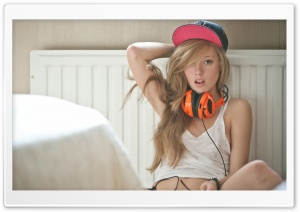 Girl with Headphones HD Wide Wallpaper for Widescreen