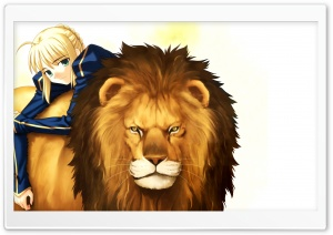 Girl With Her Lion Anime HD Wide Wallpaper for Widescreen