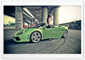 Girl With Lamborghini Gallardo HD Wide Wallpaper for Widescreen