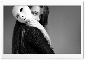 Girl With Mask HD Wide Wallpaper for Widescreen