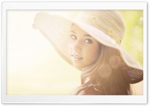 Girl With Summer Hat HD Wide Wallpaper for Widescreen