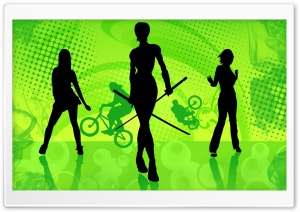 Girls Silhouette - Graphic Design HD Wide Wallpaper for Widescreen