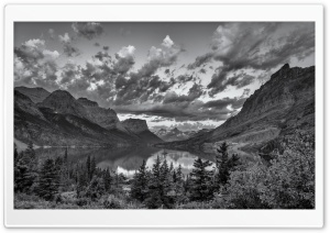 Glacier National Park, Montana, Black and White HD Wide Wallpaper for 4K UHD Widescreen desktop & smartphone