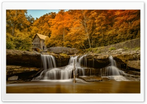 Glade Creek Grist Mill at Babcock State Park, West Virginia, Autumn Ultra HD Wallpaper for 4K UHD Widescreen desktop, tablet & smartphone