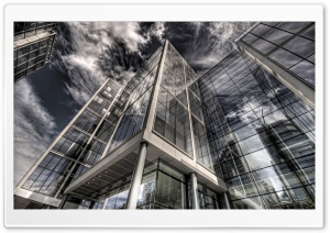 Glass Building Reflection HD Wide Wallpaper for Widescreen