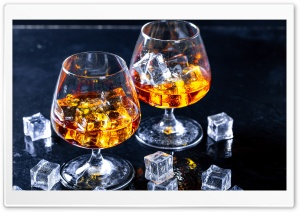 Glass of Cognac with Ice Cubes Ultra HD Wallpaper for 4K UHD Widescreen desktop, tablet & smartphone