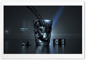 Glass of Water and Some Ice Cubes HD Wide Wallpaper for Widescreen