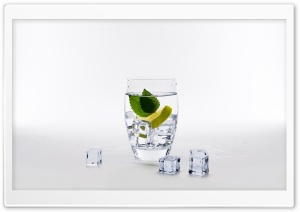 Glass of Water with Lemon, Mint and Ice Cubes Ultra HD Wallpaper for 4K UHD Widescreen desktop, tablet & smartphone