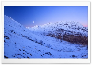 Glencoe, Scotland, Nightfall, Moonrise HD Wide Wallpaper for Widescreen