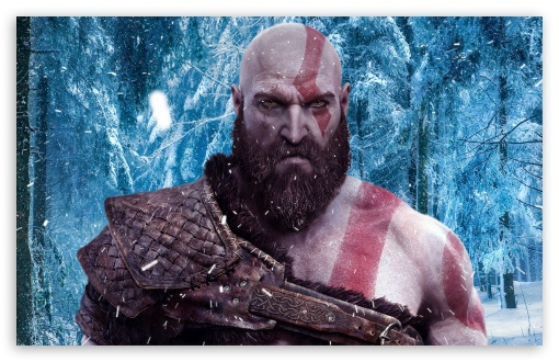 God Of War 4 Snow Forest Ultra Hd Desktop Background