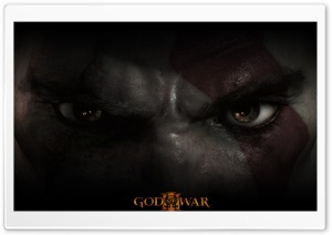 God of War III, Kratos Eyes HD Wide Wallpaper for Widescreen
