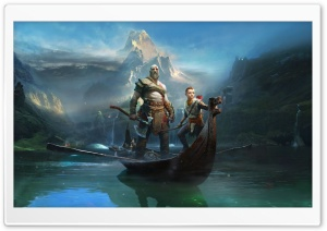 God Of War, Kratos and Atreus, 2018 Game HD Wide Wallpaper for Widescreen