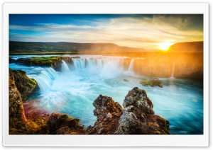 Godafoss Waterfall, Iceland HD Wide Wallpaper for Widescreen