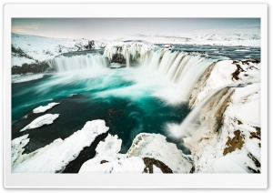 Godafoss Waterfall, Winter, Iceland HD Wide Wallpaper for 4K UHD Widescreen desktop & smartphone