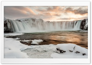 Godafoss Waterfall, Winter, Sunset HD Wide Wallpaper for Widescreen