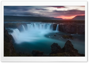 Godafoss Waterfalls, Iceland HD Wide Wallpaper for Widescreen
