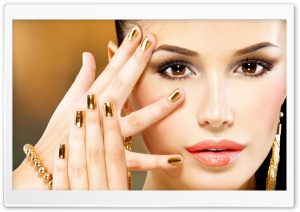 Gold Nails HD Wide Wallpaper for Widescreen