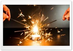 Gold Sparklers Fireworks Ultra HD Wallpaper for 4K UHD Widescreen desktop, tablet & smartphone
