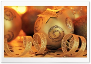 Golden Christmas HD Wide Wallpaper for Widescreen