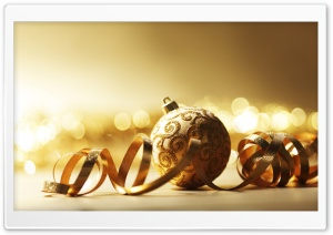 Golden Christmas Ball HD Wide Wallpaper for Widescreen