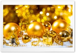 Golden Christmas Decoration Ultra HD Wallpaper for 4K UHD Widescreen desktop, tablet & smartphone