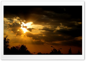 Golden Crepuscular Rays HD Wide Wallpaper for Widescreen