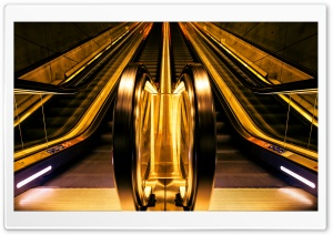 Golden Escalators HD Wide Wallpaper for 4K UHD Widescreen desktop & smartphone