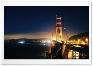 Golden Gate At Night HD Wide Wallpaper for Widescreen