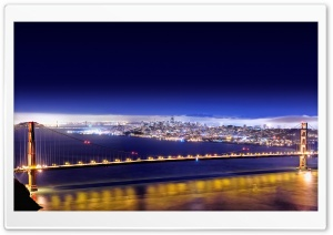 Golden Gate At Night, HDR HD Wide Wallpaper for Widescreen