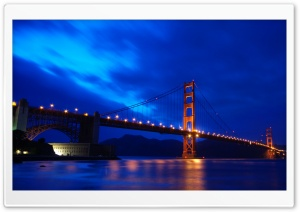 Golden Gate Bridge At Night HD Wide Wallpaper for 4K UHD Widescreen desktop & smartphone