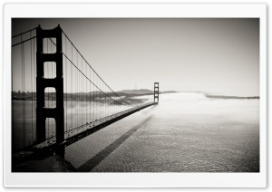 Golden Gate Bridge Black And White HD Wide Wallpaper for Widescreen