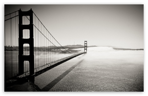 Golden Gate Bridge Black And White HD wallpaper for Standard 4:3 5:4 Fullscreen UXGA XGA SVGA QSXGA SXGA ; Wide 16:10 5:3 Widescreen WHXGA WQXGA WUXGA WXGA WGA ; HD 16:9 High Definition WQHD QWXGA 1080p 900p 720p QHD nHD ; Other 3:2 DVGA HVGA HQVGA devices ( Apple PowerBook G4 iPhone 4 3G 3GS iPod Touch ) ; Mobile VGA WVGA iPhone iPad PSP Phone - VGA QVGA Smartphone ( PocketPC GPS iPod Zune BlackBerry HTC Samsung LG Nokia Eten Asus ) WVGA WQVGA Smartphone ( HTC Samsung Sony Ericsson LG Vertu MIO ) HVGA Smartphone ( Apple iPhone iPod BlackBerry HTC Samsung Nokia ) Sony PSP Zune HD Zen ; Tablet 2 Android ; Dual 4:3 5:4 16:10 UXGA XGA SVGA QSXGA SXGA WHXGA WQXGA WUXGA WXGA ;