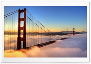 Golden Gate Bridge Enveloped by Fog HD Wide Wallpaper for 4K UHD Widescreen desktop & smartphone
