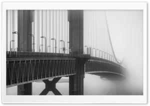 Golden Gate Bridge Fog Black and White Ultra HD Wallpaper for 4K UHD Widescreen desktop, tablet & smartphone