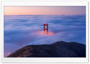 Golden Gate Bridge Fog Sunrise Ultra HD Wallpaper for 4K UHD Widescreen desktop, tablet & smartphone