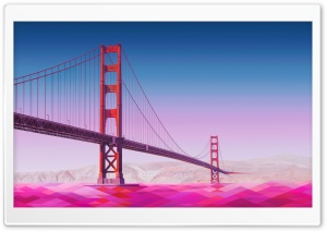 Golden Gate Bridge Landscape Art HD Wide Wallpaper for 4K UHD Widescreen desktop & smartphone