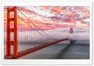 Golden Gate In Clouds San Francisco HD Wide Wallpaper for 4K UHD Widescreen desktop & smartphone
