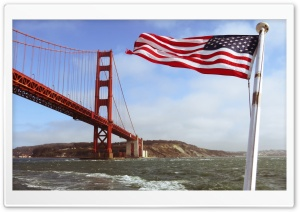 Golden Gate with the US Flag HD Wide Wallpaper for Widescreen