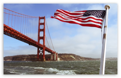 Golden Gate with the US Flag HD wallpaper for Wide 16:10 5:3 Widescreen WHXGA WQXGA WUXGA WXGA WGA ; HD 16:9 High Definition WQHD QWXGA 1080p 900p 720p QHD nHD ; Standard 4:3 5:4 3:2 Fullscreen UXGA XGA SVGA QSXGA SXGA DVGA HVGA HQVGA devices ( Apple PowerBook G4 iPhone 4 3G 3GS iPod Touch ) ; Tablet 1:1 ; iPad 1/2/Mini ; Mobile 4:3 5:3 3:2 16:9 5:4 - UXGA XGA SVGA WGA DVGA HVGA HQVGA devices ( Apple PowerBook G4 iPhone 4 3G 3GS iPod Touch ) WQHD QWXGA 1080p 900p 720p QHD nHD QSXGA SXGA ;